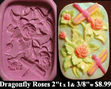 Flexible Push Mold Dragonfly Roses Panel