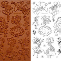 Unmounted Rubber Stamp Set Flower Dress Art #Dres-M07