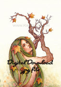 Digital File - Greek Dryad Tree Spirit Watercolor Artwork Color Painting Clip Art Printable Download