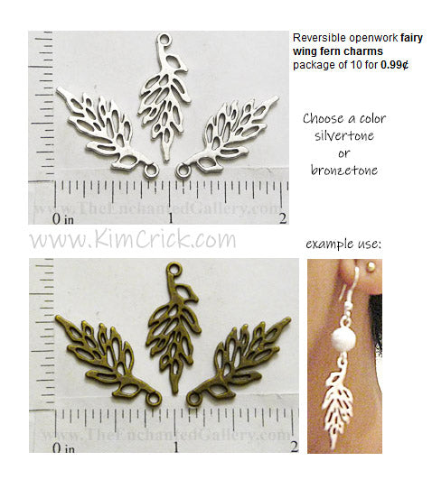Openwork Fairy Wing Fern Charms Ten Pack (Select A Color)