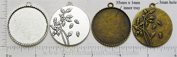 35mm Circle Falling Leaves Art Pendant Tray (Select a Color)
