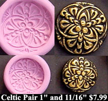 Flexible Push Mold Celtic Nouveau Circles Two Buttons