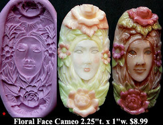 Flexible Push Mold Floral Face Cameo