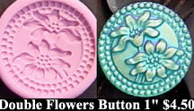 Flexible Push Mold Two-Flower Art Deco Double-Circle Button