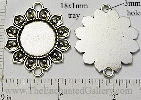 18mm Circle Pendant Tray Petal Edged Dotted Flower Two 3mm Connector Loops Antiqued Silver (Select Optional Insert)