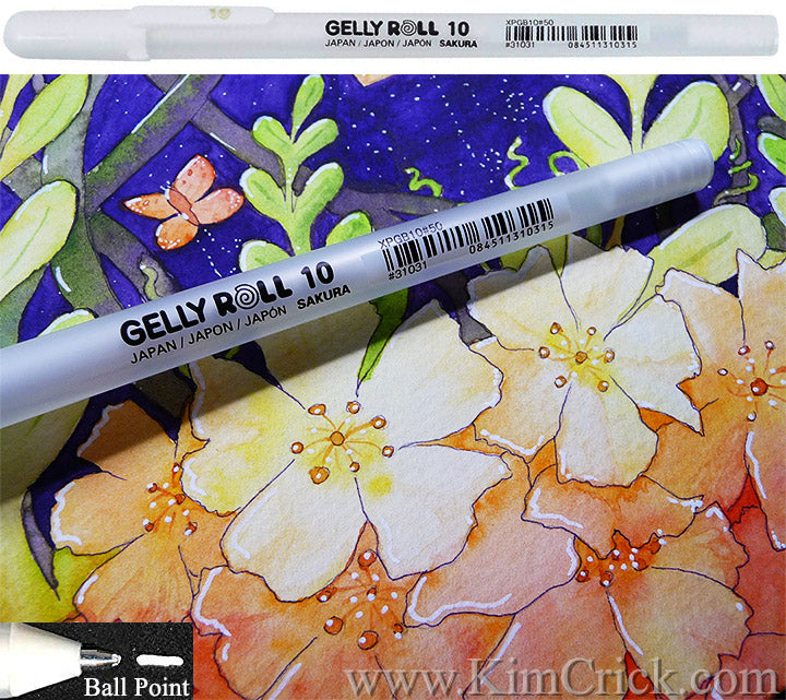 Gelly Roll BOLD 10 classic WHITE gel pen for art watercolor painting-ink gouache opaque