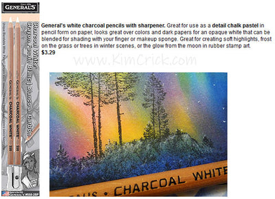 General's White Charcoal Chalk Pastel Pencils with Sharpener