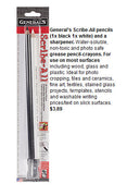 General's Scribe-All Water-Soluble Slick Surface Grease Pencils Black White and Sharpener Set