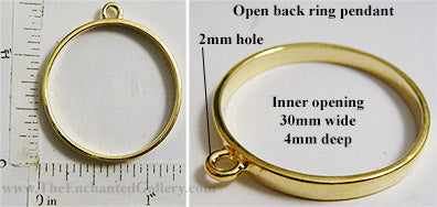 Open Back Thin Ring Frame 30x4mm Goldtone