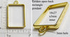 Open Back Short Style Rectangle Frame 18mm x 27mm x 3mm Goldtone