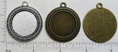 25mm Circle Pendant Tray Greek Repeating Spiral Border (Select Color or Optional Insert)