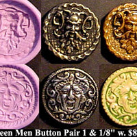 Flexible Push Mold Set Antique Greenman and Bacchus Button Pair