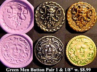 Flexible Push Mold Set Antique Green Man and Bacchus Button Pair