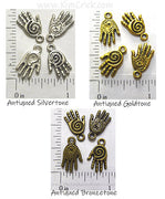Healing Hands Charms Spiral Metal Beads Art Doll Jewelry Findings