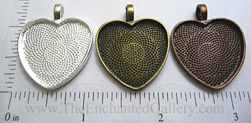 25mm x 25mm x 2mm Heart Pendant Tray Textured (Select Optional Insert)