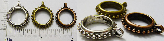Open Back 12mm Hobnail Studded Ring Round Hangers