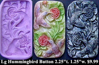 Flexible Push Mold Large Hummingbird and Rose Garden Panel Button