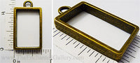 Open Back Smaller Rectangle Frame 16mm x 26mm x 4mm Curved Edges Bronzetone