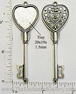 20x19mm Heart Shaped Cupid Arrow Style Key to My Heart Pendant Tray Antiqued Silvertone
