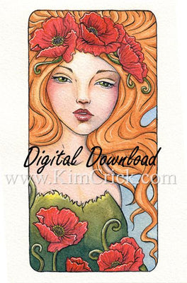 Digital File - Art Nouveau Poppy Flower Lady Watercolor Artwork Color Painting Clip Art Download