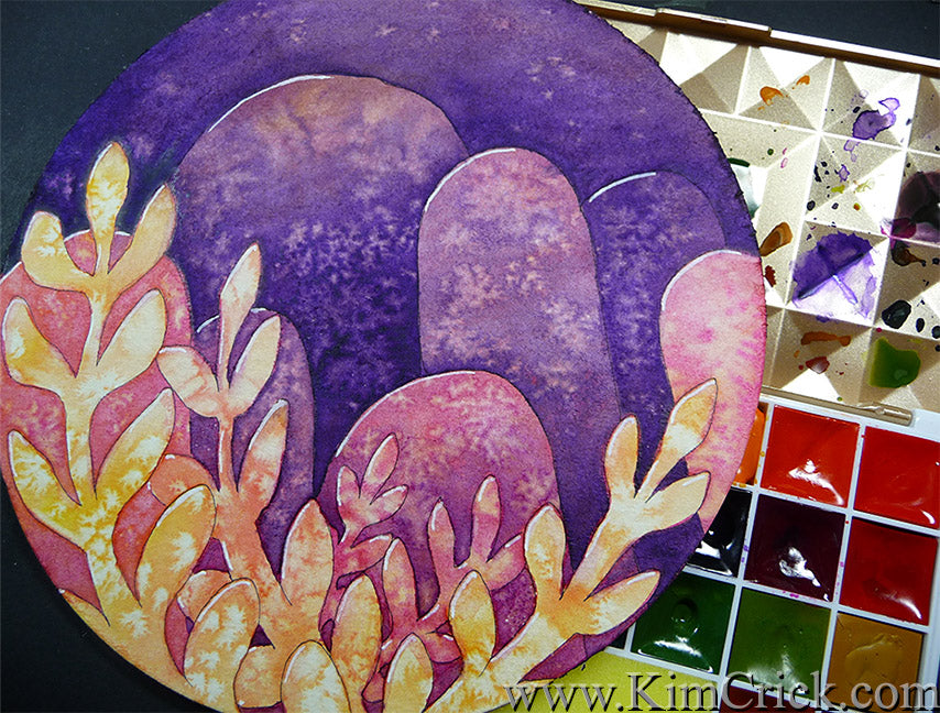 Negative Painting watercolor technique landscape floral alien world circle watercolor paper mairtini