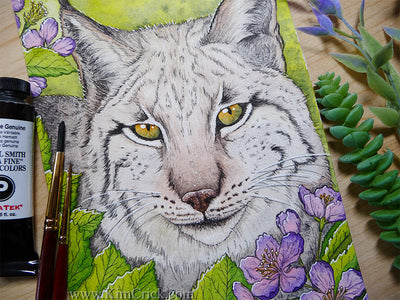 Iberian Lynx cat art watercolor painting Daniel Smith Hematite Genuine Primatek