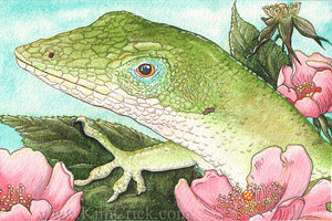 Original Art Watercolor Painting Green Anole (4x6 Not a Print, Supports Sierra Club Conservation)