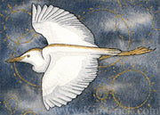 Original Art Watercolor Painting Decorative Gold Cattle Egret
