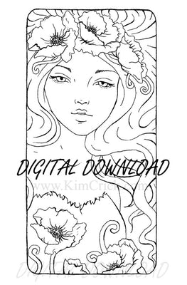 Digital File - Art Nouveau Poppy Flower Lady Artwork Ink Line Drawing Clip Art Download