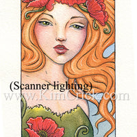 "Original Art Watercolor Painting Art Nouveau Poppy Lady Portrait (4"" x 6"" Not a Print)"
