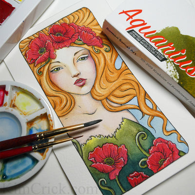 Original Art Watercolor Painting Art Nouveau Poppy Lady Portrait (4