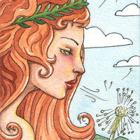 Rosa Gallery watercolor painting Greek Goddess portrait dandelion wish Art Nouveau