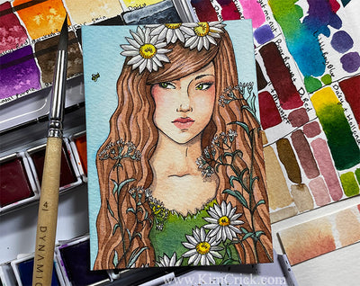 Original Art Watercolor Painting Lady with Flower and Bee Portrait