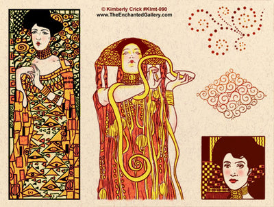 Unmounted Rubber Stamp Set Klimt Decorative Art #Klmt-090