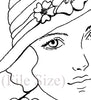 Digital File - Elegant Woman In Hat Vintage Lady Line Drawing Artwork Clip Art Download