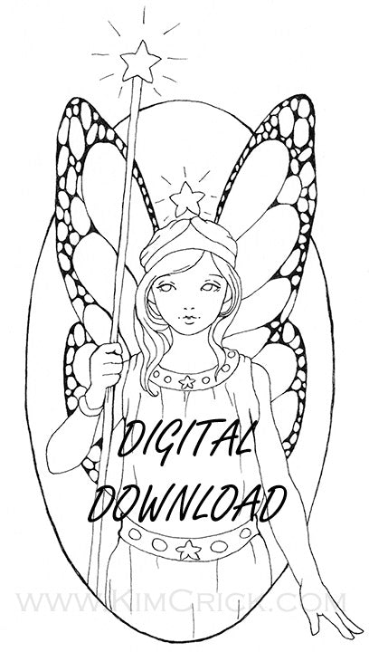 Digital File - Star Fairy Girl Magical Line Drawing Digi Stamp Printable Clip Art Download