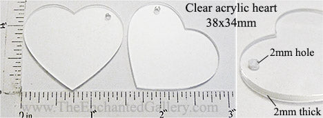 Laser Cut Acrylic Clear 38mm x 34mm Heart Charm with Hole 4 Pack