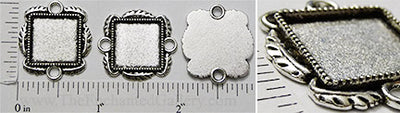 15mm Square Leaf Border Connector Tray Antiqued Silvertone