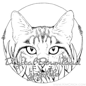 Digital File - Cat in Grass Kitty Art Ink Line Drawing Digi Stamp Printable Coloring Book Page Download
