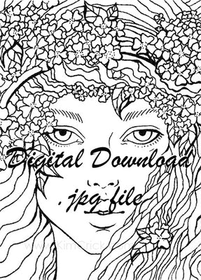 Digital File - Wildflower Woman Portrait Pen Ink Line Art Printable Coloring Page Drawing Instant Download