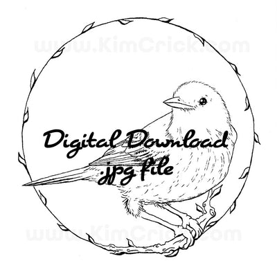 Digital File - Warbler Bird Ink Line Art Animal Drawing Digi Stamp Printable Coloring Practice Download