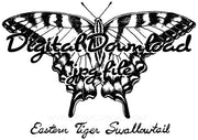 Digital File - Tiger Swallowtail Butterfly Nature Art Ink Line Drawing Digi-Stamp Printable Download