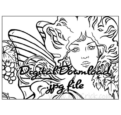 Digital File - Autumn Fairy Art Nouveau Portrait Ink Line Drawing Digi-Stamp Adult Coloring Book Page Download