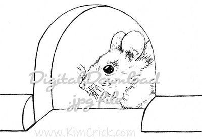 Digital File - Mouse Hole Pen Ink Line Art Drawing Printable Coloring Book Page Download