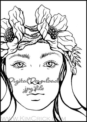 Digital File - Ink Drawing Art Nouveau Lady Portrait Woman Artwork Adult Coloring Printable Download