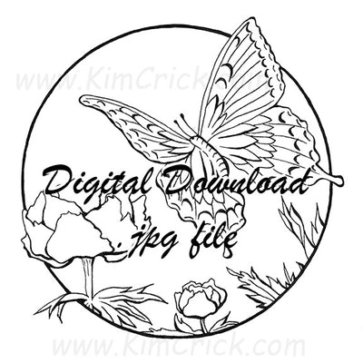 Digital File - Butterfly Floral Circle Pen Ink Line Art Drawing Printable Coloring Book Page Download