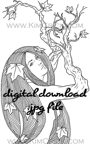 Digital File - Greek Dryad Tree Spirit Lady Line Drawing Black White Clip Art Digi Stamp Printable Download