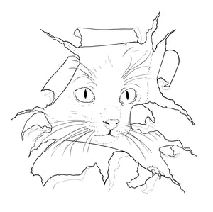 FREE - Digital File Drawing - Personal Use Painting Practice Coloring Page Cat Torn Paper Animal Art Download