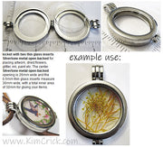 Silvertone Metal Locket Pendant With Thin Glass Inserts Holds Photo Keepsakes Dried Flowers Etc.
