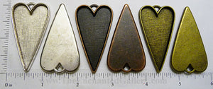 50x25x2.5mm Long Heart Pendant Tray (Select a Color)